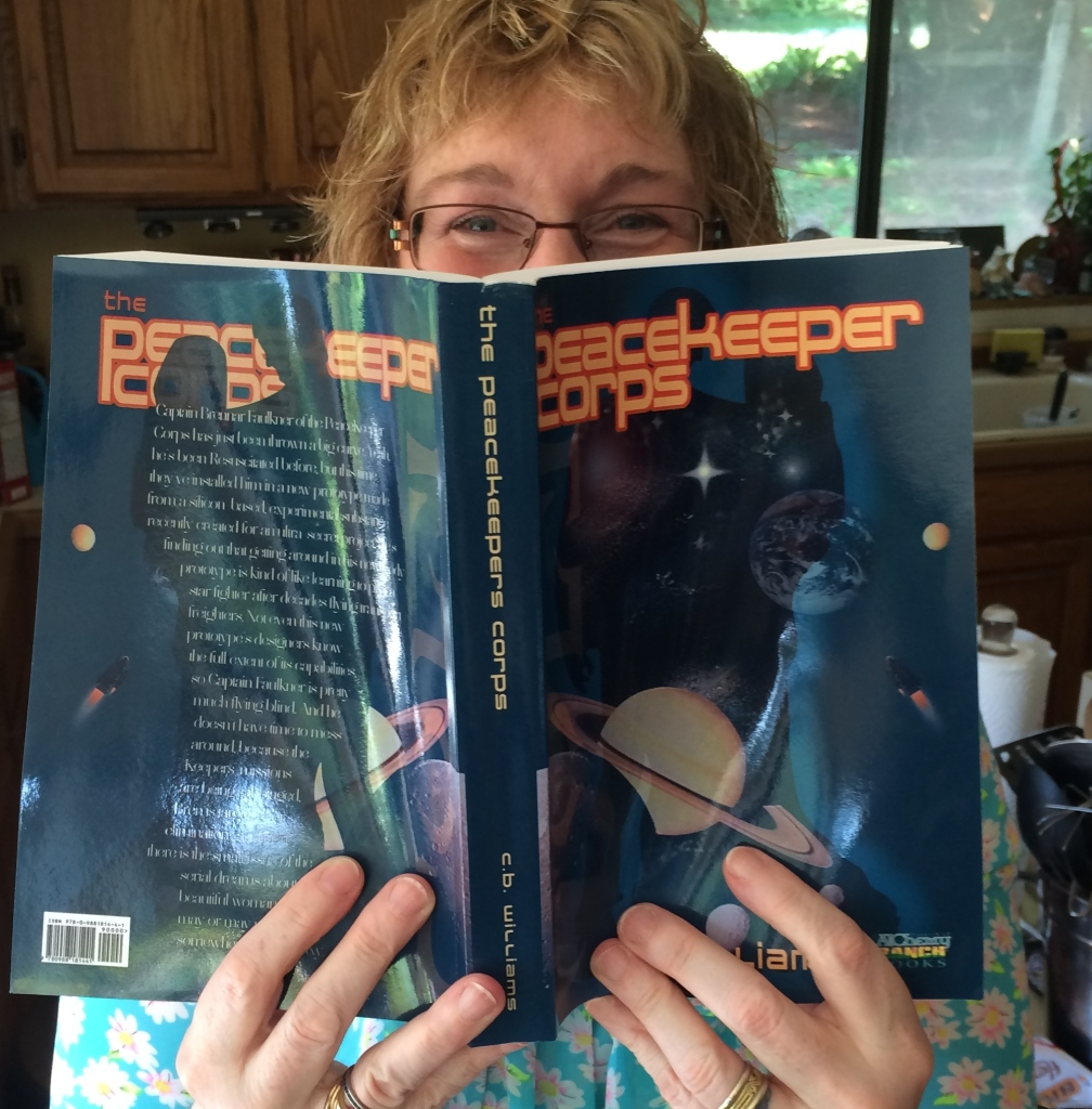 Euphoric author with proof copy