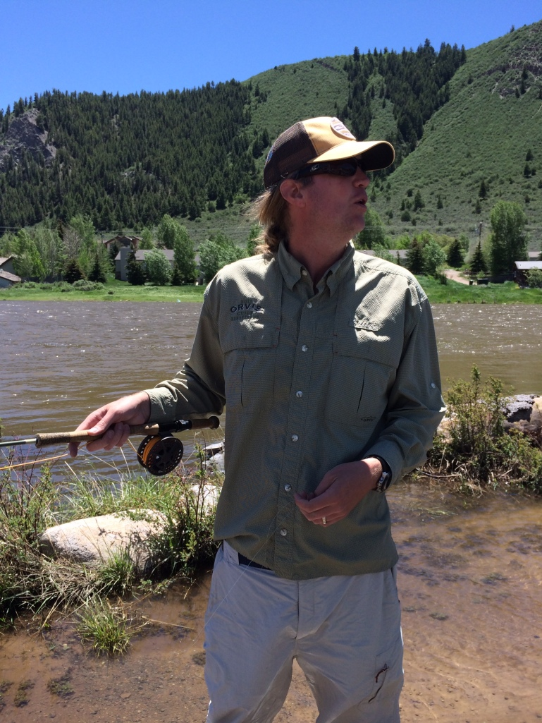Jeff showing us how to cast with a strong head wind. Wind trumps water current when determining how to cast.